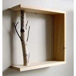 This is such a lovely way to bring the outdoors in. I think I'd use drift wood or something worn instead.: Idea, Craft, Shelves, Wood Shelve, Diy, Design