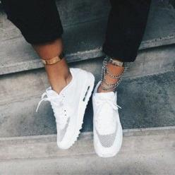 white shoes hyperfuse nike shoes for women girly jewels ankle chain air max white white trainers nike sneakers gold fashion trendy: Nike Free Shoes, Airmax, Fashion, Style, Nike Shoes, Nikes, Nike Running, Nike Air Max, Sport Shoes