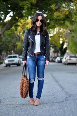 White t shirt, skinny distressed jeans, moto leather jacket a and nude flats: Ripped Jeans, Casual Outfit, Style, Jeans Leather, Winter Outfit, Fall Outfit, Leather Jackets, Nude Flats Outfit, Fall Winter