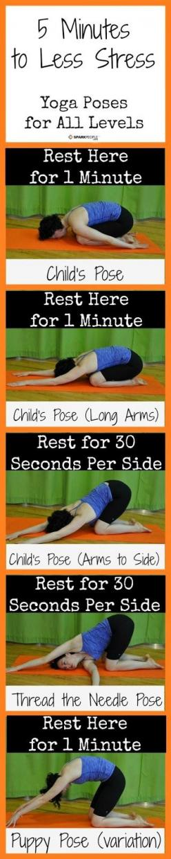 Yoga for beginners, yoga poses, yoga fitness. 2014 totally think I'm gonna give it a try.: Minute Yoga, 5 Minute, Stress Yoga, Yoga Fitness, Yogaposes, De Stress, Yoga Poses, Health, Relieve Stress