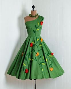 1950's Vintage Olive-Green Scenic Floral-Garden Botanical Cotton-Couture Asymmetric One-Shoulder Sleeveless Ruched-Waist Rockabilly Ballerina-Cupcake Princess Full Swing Circle-Skirt Femme-Fatale Bombshell Beach Wedding Cocktail Party Sun Dress: Style
