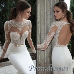 2015 white lace open back long sleeves mermaid prom dress, wedding dress, ball gown, cute+dresses+for+teens #promdress #wedding: Wedding Dresses Satin, Wedding Dressses, Sexy Wedding Dresses, Lace Mermaid, Weddings, Dresses, Long Sleeve, Prom Dresses, Bri