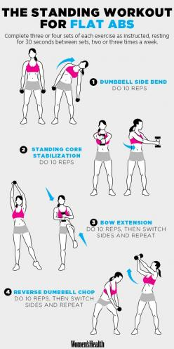 4 Standing Moves for a Super-Flat Stomach http://www.womenshealthmag.com/fitness/standing-abs-exercises: Standing Core Workout, Stomach Workout, Flat Stomach, Fitness Exercise, Exercise Workout, Work Out, Standing Ab Exercise