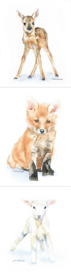 5X7 water color prints :: for the nursery.: Water Colour Painting, Watercolor Painting, Animal Watercolour, Watercolour Animal, Watercolor Animal, Animal Drawing, Animal Watercolor, Water Color Painting, Watercolour Painting