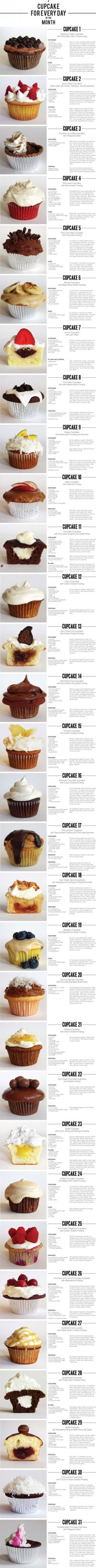 A Cupcake For Every Day of the Month!: Cupcakes Cake, Cuppycake, Cupcake Recipes, Cup Cake, 31 Cupcakes, Sweet Tooth, Dessert