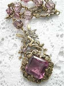 amethyst necklace with fairy