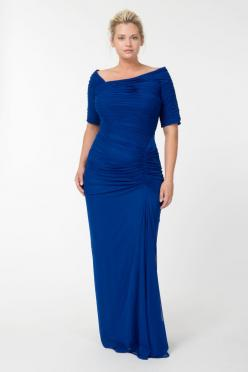 Asymmetric Ruched Sleeve Gown in Marina | Tadashi Shoji Fall / Holiday Plus Size Collection: Ruched Sleeve, Mother, Wedding, Tadashi Shoji, Plus Size Gown