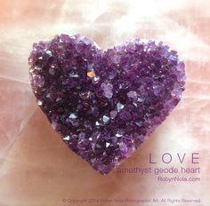 Beautiful Amethyst Geode Heart. Amethyst is a stone of spirituality. Amethyst inspires creativity, relaxation and peace. It is a wonderful meditation tool. #purple #amethyst #hearts #love
