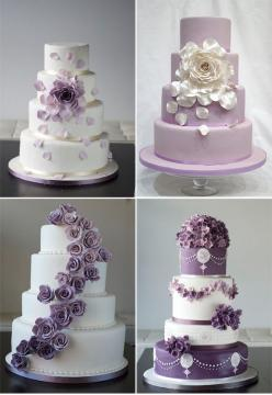 Beautiful Cake Pictures: Beautiful Assorted Purple Accented Wedding Cakes: Cakes with Flowers, Purple Cakes, Wedding Cakes: Wedding Ideas, Purple Wedding Cake, Accented Wedding, Beautiful Cake, Wedding Cakes, Purple Accented, Purple Cakes