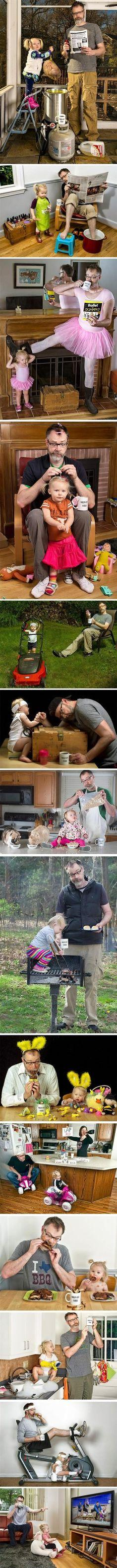 """Best Dad Ever? Love his smirk in each shot, the """"am I doing this the right way, ah to heck with it - just roll with it baby"""" look.: Picture, Giggle, Daddy Daughter Photo, So Funny, Father Daughter, Coolest Dad, Dads"""