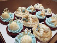 "By The Beach Cupcake.....This Looks Really Cute If You Put A Swedish Fish Sticking Out Of The ""Ocean"" Icing: Beachy Cupcake, Beach Themed Cupcake, By The Beach Cupcake, Sandy Beach, Beach Theme Cupcakes, Cutest Cupcake, Ocean Cupcake, Summer Cupca"