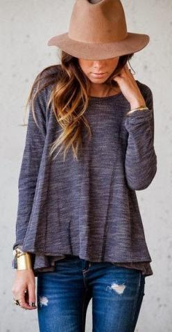 Casual sweatshirt, ripped jeans, boho hat fashion | HIGH RISE FASHION: Fashion, Grey Top, Fall Style, Dream Closet, Fall Outfit, Fall Winter, Hair Color