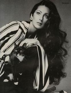 Cher by Richard Avedon. What icons are made of. The makeup, the hair, the classic, chic blouse, the kitty- baby....I love everything about this photo.: Cats, Fashion, Richard Avedon, Famous People, Beautiful Women, Expensive, Hair
