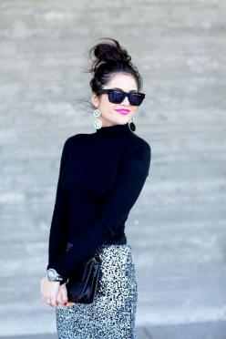 Chic winter- follow us www.helmetbandits.com like it, love it, pin it, share it!: Pink Lipstick Outfit, Fashion, Sequin Skirt, Style, Black Turtleneck, Pencil Skirts, Classy Winter Outfit