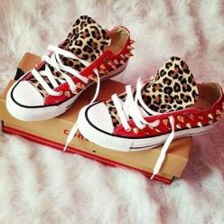 Chucks ♡: Cheetah, Fashion, Style, Leopards, Studded Converse, Converse Shoes, Leopard Prints