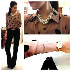 Cocoa with black polka dots blouse, black pants, pearls: Work Clothes, Polka Dots, Style, Hello Gorgeous, Work Outfits, Business Casual, Black Pants, Work Attire