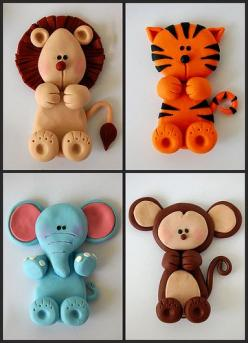 Cute fondant animals. Would be cute on a cake for a baby shower!! Monkey will definitely be on my first babys cake!: Baby Cake, Fondant Animals, Monkey Baby Shower Cake, Animal Cupcake, Safari Baby Shower Cake, Animal Cake, Animal Baby Shower Cake, Safari