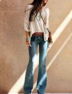 Denim bell bottoms + floaty peasant top. Great tan leather belt, silver cuff & turquoise necklace. Boho chic.: Flare Jeans, Boho Chic, Bell Bottoms, Outfit, Boho Hippie, Boho Style, Flared Jeans