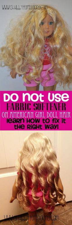 DO NOT use fabric softener on American Girl Doll Hair! Learn How to fix Curly and straight Doll Hair at Chubbyfortoolong.com: American Girl Doll Diy, American Girl Diy Idea, American Girl Craft, American Girl Doll Craft, American Girl Dolls, Doll Hair Sty