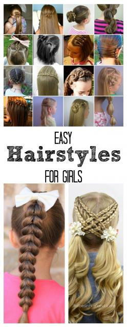 Easy Hairstyles for Girls | Sharing over 25 hair tutorials so that you can re-create these fun hairstyles for your own girls.: Girly Hairstyle, Girl Hair Idea, Girls Hairstyle, Easy Diy Hairstyle, Girl Hairdo, Hairstyle For Girl, Easy Girl Hairstyle, Fun