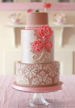 Ecru, Pearls, Damask and Ruffle Flowers  Cake by Clabby: Amazing Cakes, Cake Ideas, Wedding Cakes, Damask, Beautiful Cakes, Pink Cake