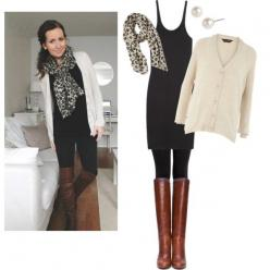 Fall trend: black bottoms, loose white or cream sweater, cognac boots, scarf: Black Tank, Style, Dream Closet, Leopard Scarf, Fall Outfits, Tank Dress, Fall Fashion, Fall Winter