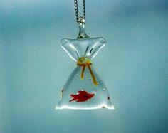 Fish in a Bag Necklace Glass Pendant Miniature Tiny Cute Whimsical Kitsch Nature Water Aqua Transparent Airy: Kitsch Nature, Whimsical Kitsch, Transparent Airy
