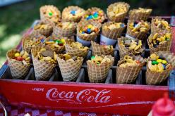 fun party food/cones in coke crate: Birthday Parties, Party Snacks, 1St Birthday, Waffle Cones, Party Ideas, Birthday Party