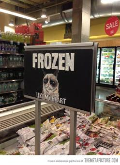 Grumpiness found at Whole Foods…-Grumpy Cat: Cats, Grocery Store, Grumpycat, Food, Funny Stuff, Funnies, Grumpy Cat, Frozen