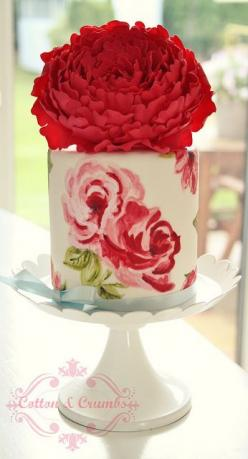 Hand painted cake. Absolutely gorgeous.: Red Flower, Wedding Cakes, Beautiful Cake, Painted Cakes, Hand Painted Cake, Weddingcake