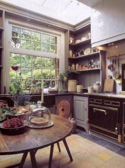 I guess really I'm going to end up leaning into a modern farmhouse-style kitchen, huh.: Kitchens, Big Window, Interior, Idea, Kitchen Window, Country Kitchen, House, Rustic Kitchen