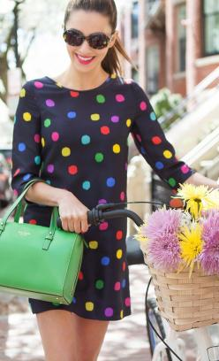 I usually recommend winter gamines limit their total number of colors as would any winter, but I think the vast majority of black makes this work: Purse, Style, Bike Fashion, Color, Dresses, Pop, Polkadots, Kate Spade Clothes Outfits