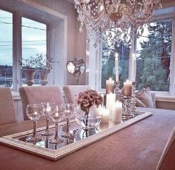 Lovely table center piece. Add a mirror for elegance and crystal glasses, a vase, and candles.: Dining Rooms, Dining Room Centerpiece, Dining Table Idea, Elegant Dining Room, Dinning Room, Diningroom, Dining Table Centerpiece, Dining Table Decoration