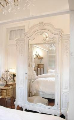 "Make an armoire like this 3"" deep, with storage behind the side panels and mirror. Put feet at the base so it looks like a piece of furniture, but is really a wall mounted piece.: Decor, Mirror, Interior, Idea, Dream, Shabby Chic, Wardrobe, White Bedr"