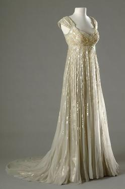 Merle Oberan wore this gorgeous champagne-colored empire gown in the 1954 movie, DESIREE: Style, Vintage Fashion, Wedding Dresses, Gowns, Costume, Merle Oberon