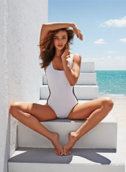 Miranda Kerr's pose in this white and black swimsuit is a treat to look at.... and she looks more of an inverted triangle here than pear!: Mirandakerr, Miranda Kerr, Fashion, Girl, Style, Mariano Vivanco, Summer, Photo