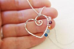 Mothers Necklace with Custom Child Birthstones, Sterling Silver: Birthstones Handmade, Child Birthstones, Pretty Girl, Birthstone Necklace, Mothers Necklace, Mother Necklace
