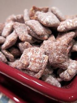 Muddy Buddies 9 c. Corn Chex®, Rice Chex®, Wheat Chex® or Chocolate Chex® cereal; 1 c. semisweet chocolate chips; ½ c. peanut butter; ¼ c. butter; 1 tsp. vanilla; 1½ c. powdered sugar Put cereal in large bowl. Microwave chocolate chips, peanut butter + bu