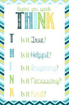 "My personalized version of the ""THINK"" poster. High school classroom poster decor"