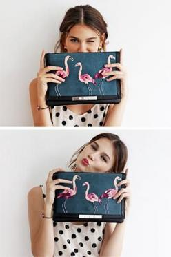 Name it and claim it: win this Lizzie Fortunato clutch!: Lizzie Lucky, Flamenco Clutch, Fortunato Clutch, Clutches, Clutch Refinery29, Fabulous Flamingos, Flamingos Clutch