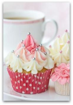 Nice! All you do is take your pastry tip and press down then quickly lift up. Do it until you are satisfied. Top with edible pearls. :D: Cup Cakes, Birthday, Pink Cupcake, Sweet, Cupcakes, Food, Party Idea, Cupcake Idea