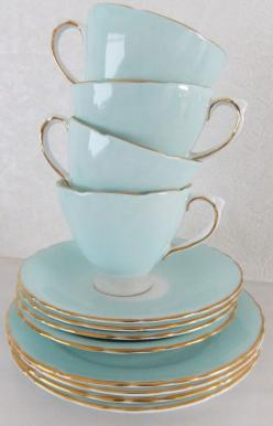 OMG! Two of your very favorite things rolled into one pretty pretty package.   Vintage Delphine Bone China tea set - shabby chic - duck egg blue / aqua: Tea Time, Tea Sets, Duck Eggs, Teaset, Duck Egg Blue, Bone China, Tea Cups, Teacup, Teatime