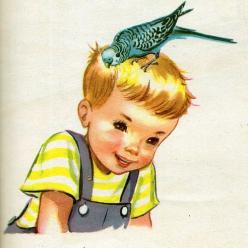 Parakeet Peter, Illustrations by Dorothy Grider, 1954- Peter and Timmy | Flickr - Photo Sharing!: Birdie, Bountiful Bluebirds, Budgies Parakeet, Boy, Parakeets Love, Adorable Parakeets