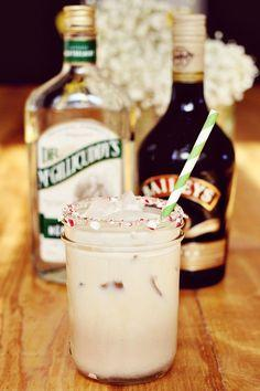 Peppermint White Russian. Fill a glass with ice and then combine- 2 parts peppermint schnapps, 2 part Bailey's (the coffee flavored kind), 1 part half and half. Garnish the rim with crushed candy canes (I used honey to make them stick) or add a pepper
