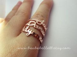 Personalized name ring  Any size  Yellow gold by barbabelle88, $25.00: Gift Boxes, Yellow Gold, Names, Pink Gold, Gifts, White Gold, Name Rings
