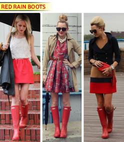 Red Hunter Boots ♥, i am dying cause i got the navy ones a year ago & these don't come cheap.  I could have got red!: Hunter Boots, Rainboots, Fashion, Rain Boots, Dress, Street Style, Outfit, Red Hunter, Rainy Days