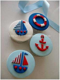 Sailing Boat Theme Cupcakes, Birthday cupcakes, kids Cupcakes, Christening Cupcakes designed by EliteCakeDesigns Sydney: Kid Cupcakes, Theme Cupcakes, Nautical Cupcake, Birthday Cupcakes, Boat Cupcakes, Kids Cupcakes, Christening Cupcakes