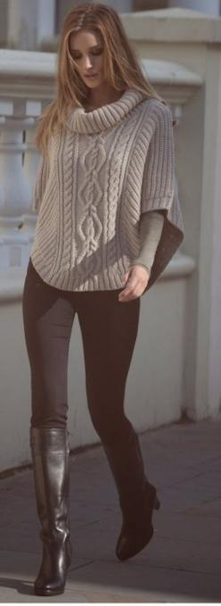 SWEATER and boots: Sweater, Leggings Outfit, Street Style, Winter Outfit, Winter Fashion, Fall Outfit, Fall Fashion, Fall Winter