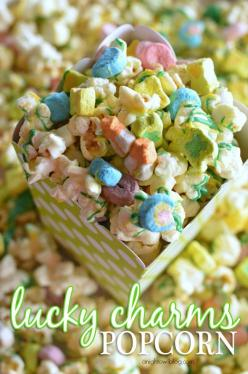 The perfect St. Patrick's Day treat! Lucky Charms Popcorn - so easy to make and so tasty - a snack the whole family will love!: Lucky Charms, Food, St. Patrick'S Day, Popcorn Recipe, Night Owl, Charms Popcorn, Perfect St, Owl Blog, Treat