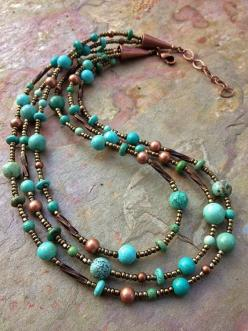 Turquoise and Copper Multi Strand Necklace by Lammergeier on Etsy, $65.00: Turquoise Necklace Diy, Beaded Necklaces, Diy Multi Strand Necklace, Jewelry Necklaces, Turquoise Jewelry Ideas, Copper Multi, Necklaces Ideas, Beaded Jewelry